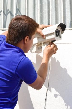 setup cctv camera on wall