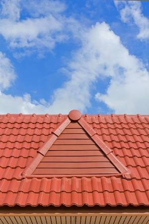 brick roof with clear cloud blue sky Stockfoto