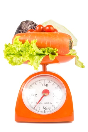 many fresh vegetables lying on weight scale photo