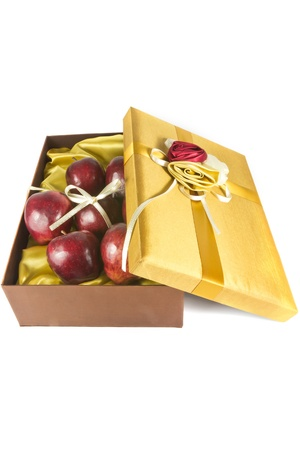 many fresh apples in luxury give box photo