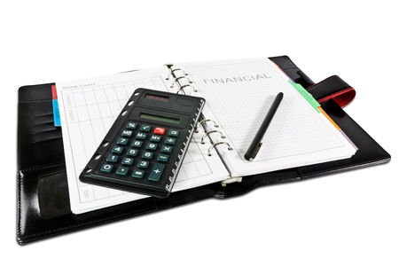 business administration: diario financiero con la pluma Foto de archivo