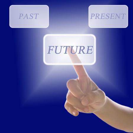 hand child pressing future touchscreen modern button Stock Photo - 11910549