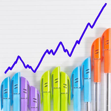 color pen business graph on paper