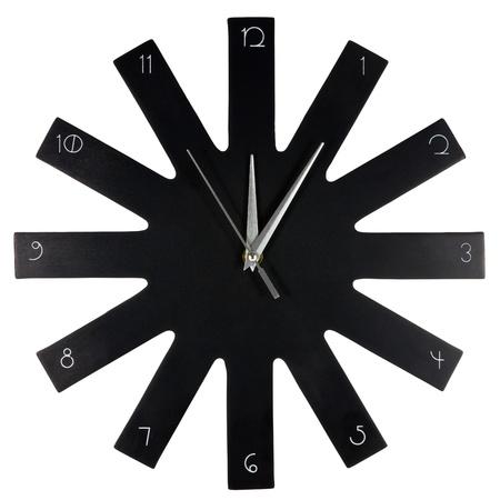 Black modern wall clock on white background photo
