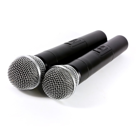 Two microphone wireless on white background Banque d'images