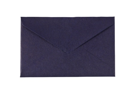 a small blue envelope on white background Stockfoto
