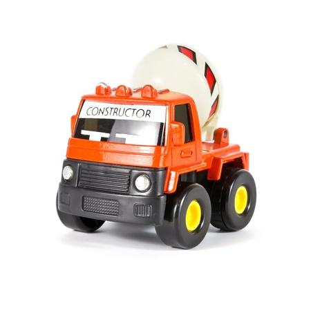 a toy truck concrete mixer on white background photo
