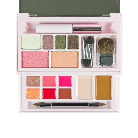 Makeup set, makeup eye shadows, lipstick and brush on photo