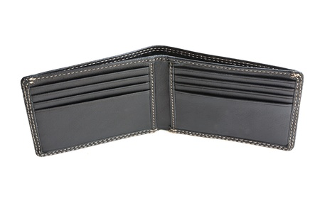 a new black wallet on white background photo
