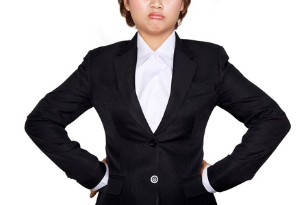 Business woman is tired (no face) on white background photo