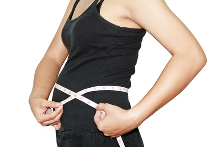 Woman measuring waistline with centimeter on white background Stock Photo - 14322468