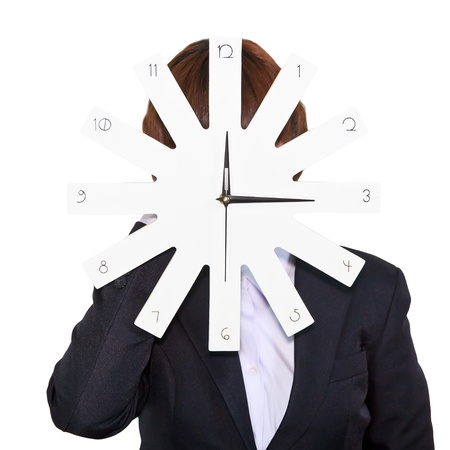 Business woman holding clock on white background photo