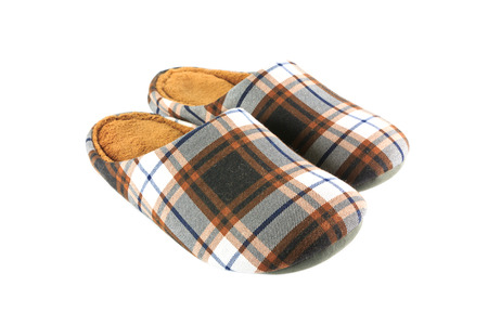 Vintage brown slippers isolated on white background Stockfoto
