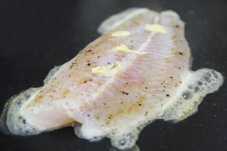 pangasius: fillet of fish pangasius, steak cooking
