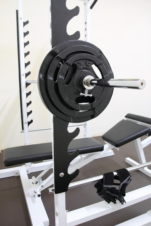 gym room: Barbell ready to workout in gym room