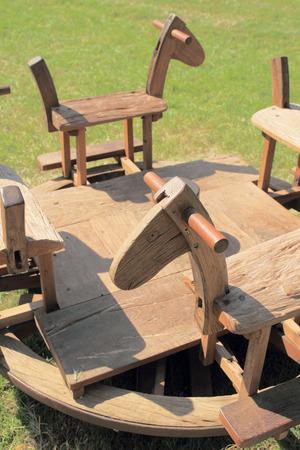 wooden handmade: Wooden handmade carousel in lawn