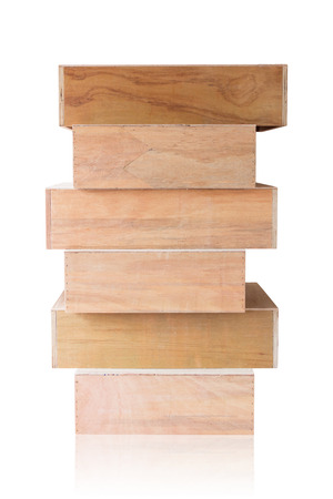 boxs: Wooden boxs overlap on white background