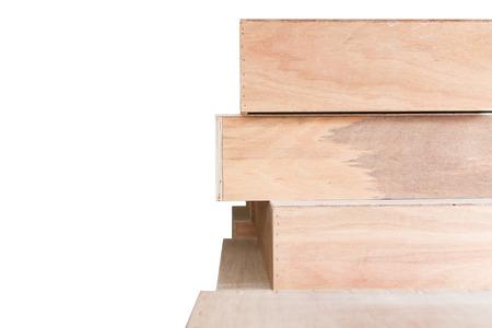 boxs: Background of wooden boxs overlap on white background