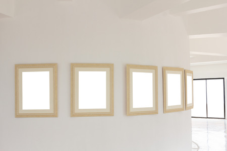 gallery wall: The gallery wall with blank frame vintage. Stock Photo