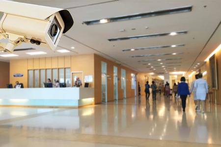 La telecamera di sicurezza CCTV che funziona in background sfocatura dell'ospedale.