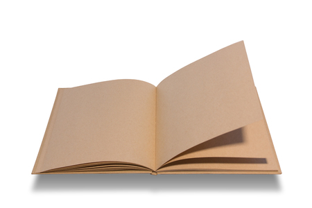 open notebook: Big brown notebook blank open on white background.