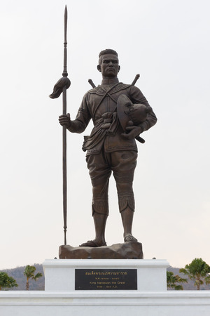 honouring: HUA HIN, THAILAND-APRIL 22 : Thai king Naresuan the great monument at Ratchapakdi Park on APRIL 22, 2016 in HUA HIN, Prachuap Khiri Khan Province, THAILAND. Rajabhakti Park is a historically themed park honouring past Thai kings.
