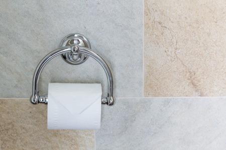 luxury bathroom: Full toilet paper in luxury chrome, luxury bathroom interior decor. Stock Photo