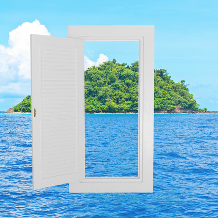 beach window: White window open frame with beach background, concept background, idea background.
