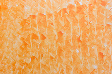 Abstract art orange color paint in cement wall, horizental pattern background. Stock Photo