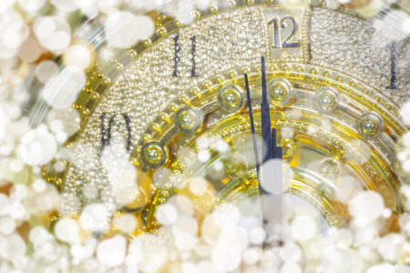 New Years at midnight time, Luxury gold clock countdown to new year, effect light.