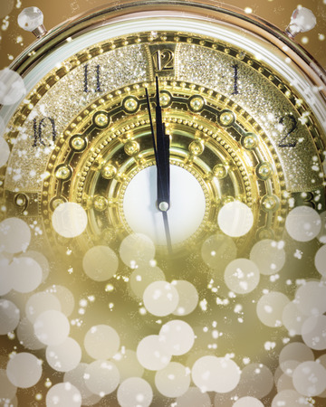 New Year's at midnight time, Luxury gold clock countdown to new year, effect light.