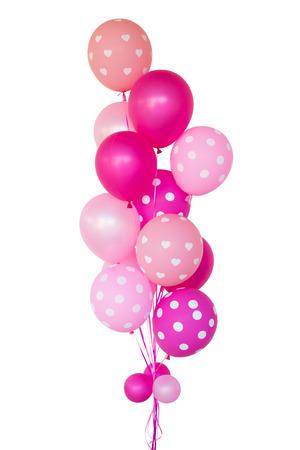 Des ballons roses fantaisie pour surprise proposent de se marier, sur fond blanc. Banque d'images - 84872928