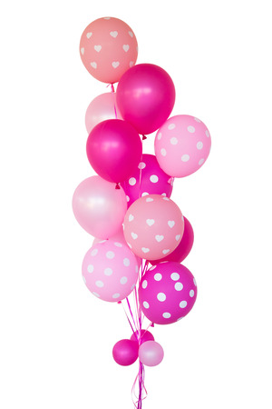 Fantasy pink balloons for surprise propose marry, on white background.
