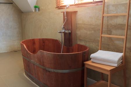 Bath Bucket With A Towel At A Hot Spring Bath At Japanese Onsen ...