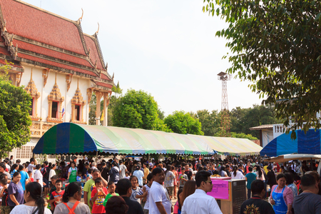 NAKHON RATCHASIMA, THAILAND, OCTOBER 15 : The traditional Buddhist ceremony, Kathin, held at Wat Wiwakewawarram on OCTOBER 15, 2017 in NAKHON RATCHASIMA THAILAND. The presentation of Kathin is a tradition of great merit of Buddhism. Editorial
