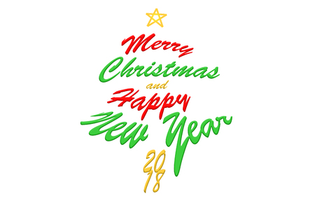 2018 Merry Christmas and Happy New Year. Text calligraphic lettering design card template. Creative typography for Holiday Greeting Gift Poster. Calligraphy font style Banner.