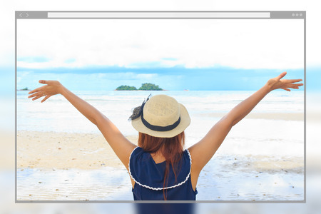 Web site page design concept, beautiful woman happy on the beach background. Stock Photo