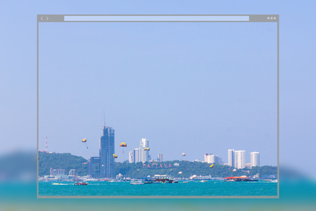 Web site page design concept, cityscape and landscape on blue sky background, Pattaya, Chonburi, Thailand. Editorial