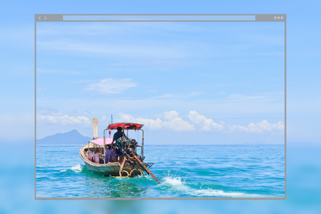 Web site page design concept, traditional thai long-tail boat moving on the sea, Krabi in Thailand background. Фото со стока