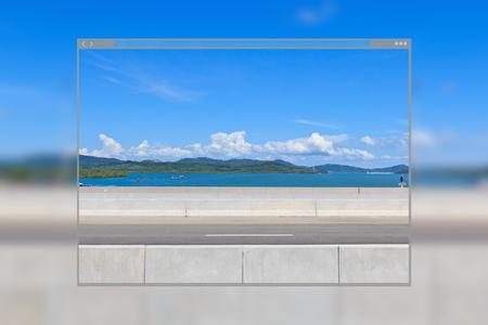 Web site page design concept, road concrete bridge with blue sky background.