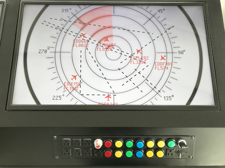 Monitor control tower aviation in room airport. 스톡 콘텐츠