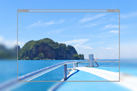 Web site page design concept, beautiful blue sea and island on speed boat, Krabi Thailand background. Фото со стока