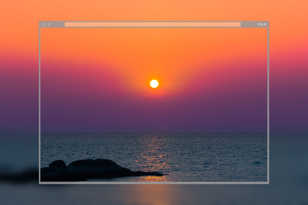 Web site page design concept, beautiful beach on sunset colorful sky background.
