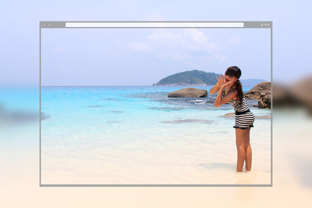 Web site page design concept, Asian young pretty woman shouting to the ocean at tropical beach background.