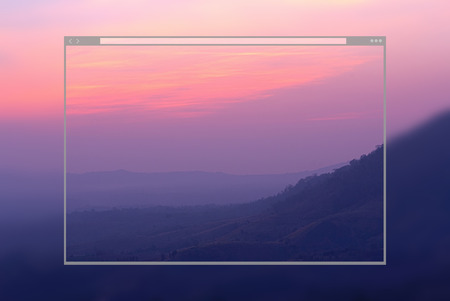 Web site page design concept, mountain sunset time background. Stock Photo