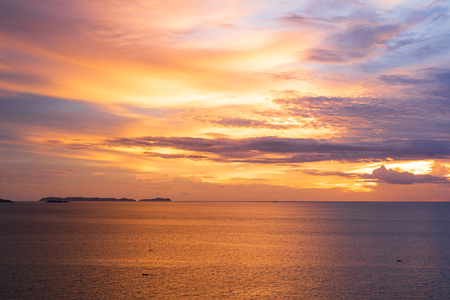 Beautiful seascape sunset sky, landscape background concept. Stock Photo