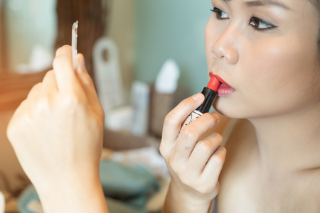 Asian beautiful woman with make up on the face model, cosmetic concepts