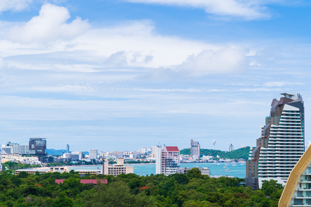 Cityscape and landscape on blue sky background, Pattaya, Chonburi, Thailand. Pattaya city is famous about sea sport and night life entertainment in Thailand.