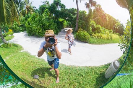 Asian couple enjoyful travel trip, vacation holidays concepts background.
