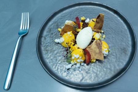 Healthy food with dessert menu, in luxury restaurant.
